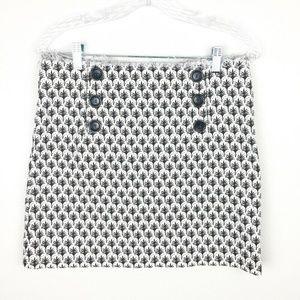 Tory Burch Mini Skirt Raw Edge Brown Ivory Pattern
